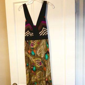 Emma & Michele maxi dress. Colorful Brown design